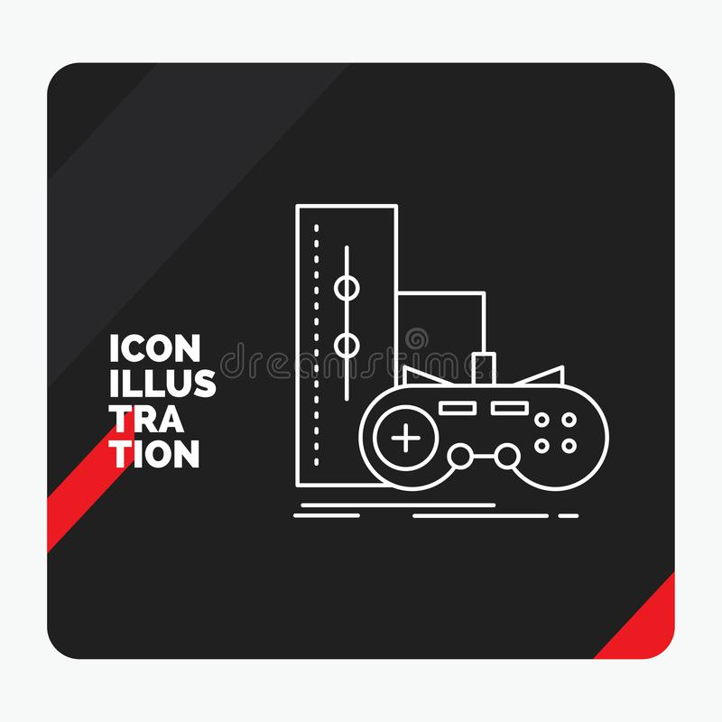 Red and Black Creative presentation Background for game, gamepad, joystick, play, playstation Line Icon. Vector EPS10 Abstract Template background royalty free illustration