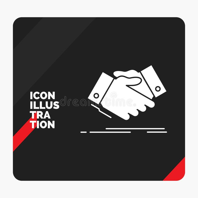 Red and Black Creative presentation Background for handshake, hand shake, shaking hand, Agreement, business Glyph Icon royalty free illustration