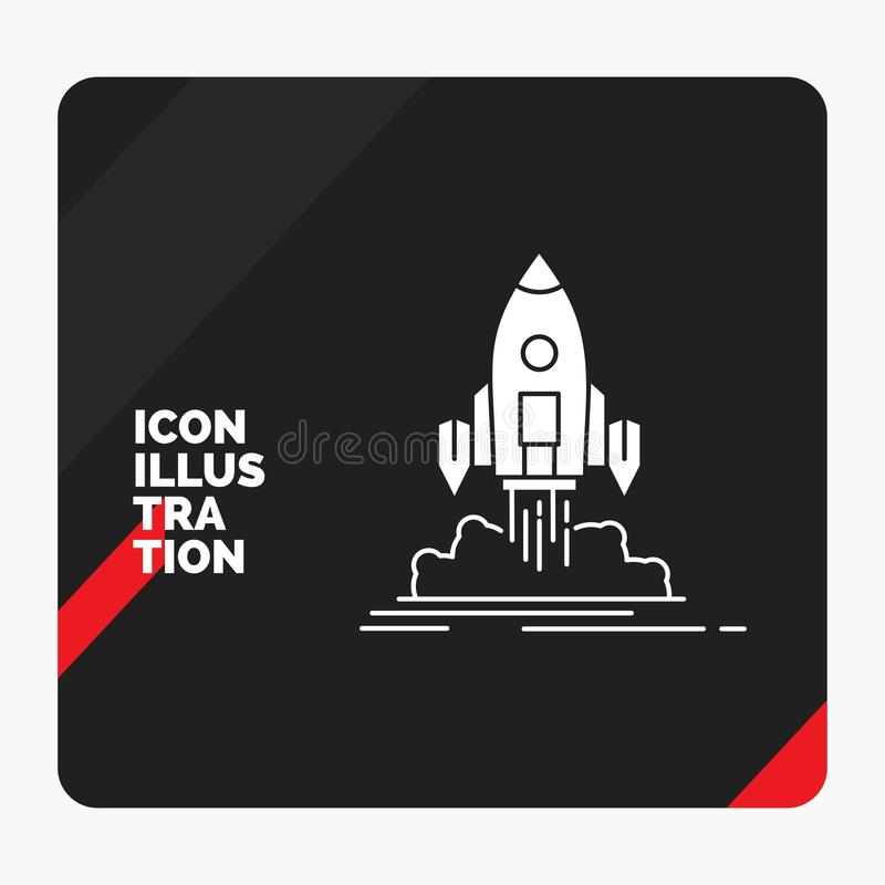 Red and Black Creative presentation Background for Launch, mission, shuttle, startup, publish Glyph Icon stock illustration