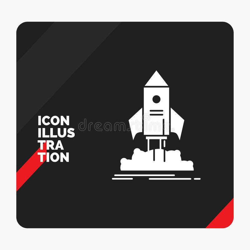 Red and Black Creative presentation Background for launch, startup, ship, shuttle, mission Glyph Icon vector illustration