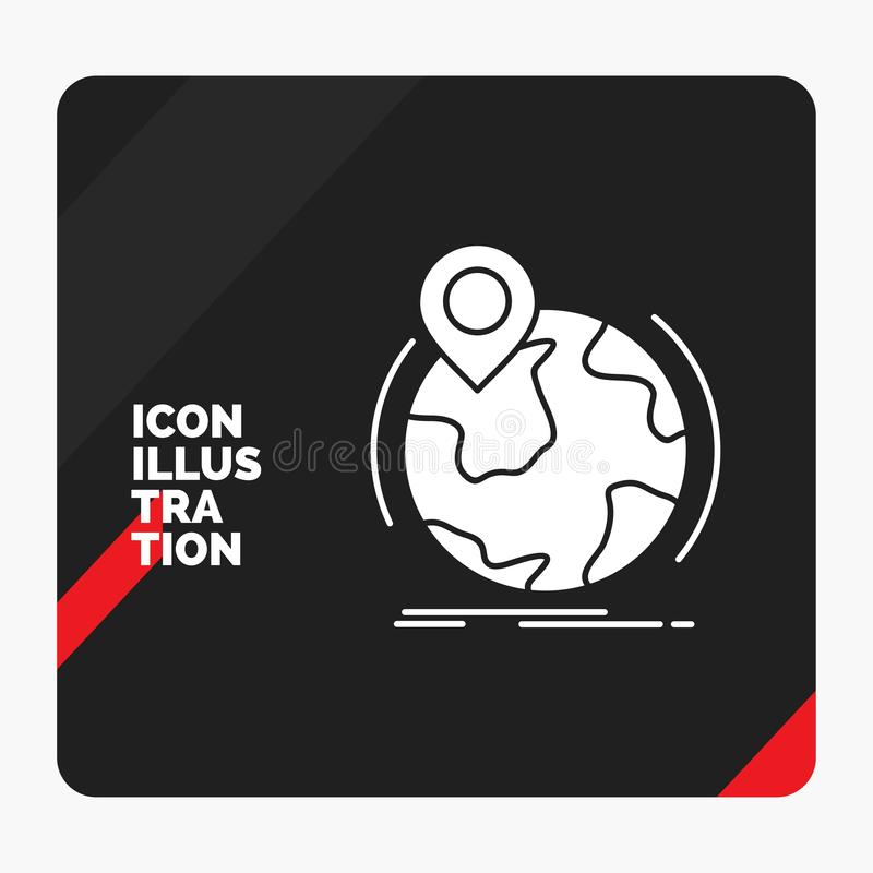Red and Black Creative presentation Background for location, globe, worldwide, pin, marker Glyph Icon. Vector EPS10 Abstract Template background stock illustration