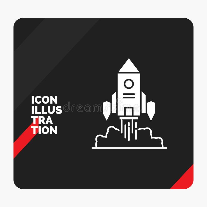 Red and Black Creative presentation Background for Rocket, spaceship, startup, launch, Game Glyph Icon royalty free illustration