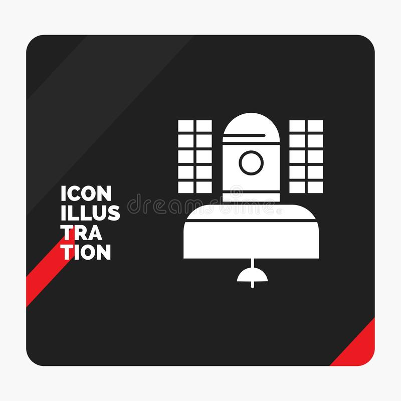 Red and Black Creative presentation Background for Satellite, broadcast, broadcasting, communication, telecommunication Glyph Icon. Vector EPS10 Abstract vector illustration