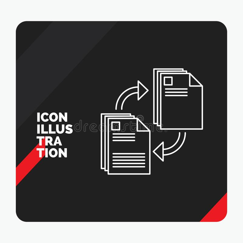 Red and Black Creative presentation Background for sharing, share, file, document, copying Line Icon stock illustration