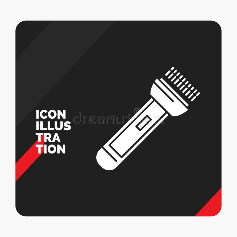 Red and Black Creative presentation Background for torch, light, flash, camping, hiking Glyph Icon. Vector EPS10 Abstract Template background stock illustration
