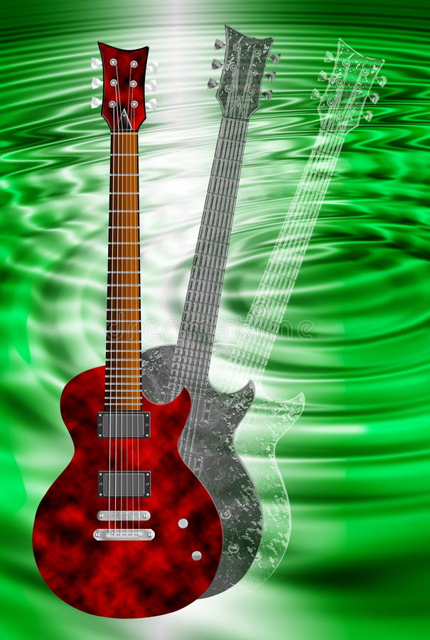 Red And Black Electric Guitars On Green Background Royalty
