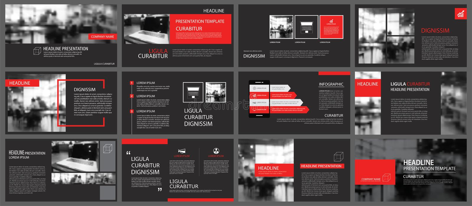 Red and black element for slide infographic on background. Prese royalty free illustration