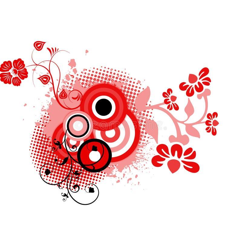Red black floral background
