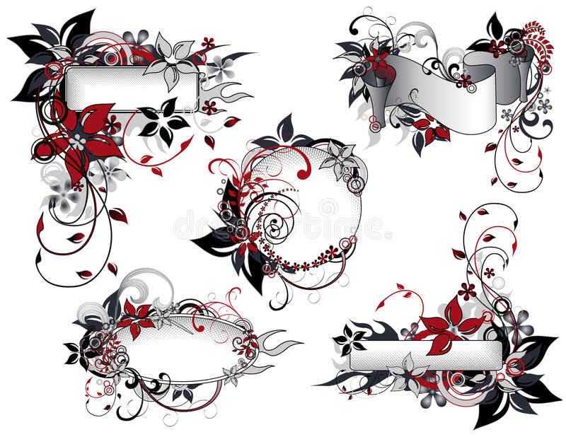 Red_and_black_floral_frame_collection stock abbildung