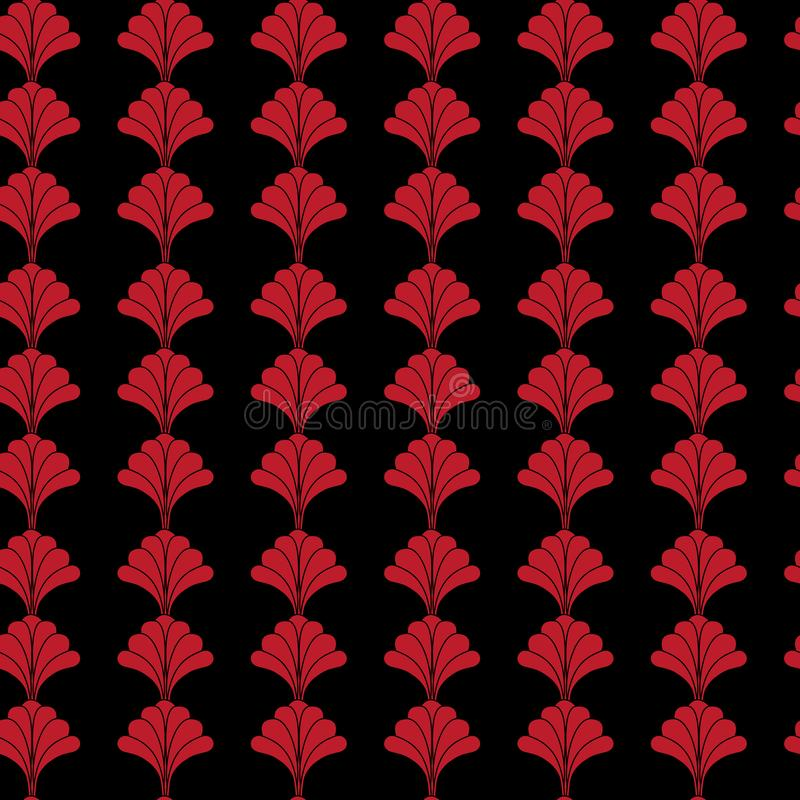 Red and Black Floral Seamless Pattern Design in Vintage art Deco Style vector illustration