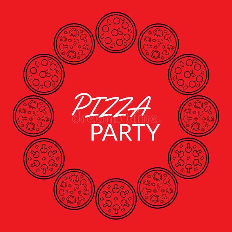Red and black food banner for pizza house, restaurant, pizzeria, cafe, bakery vector illustration