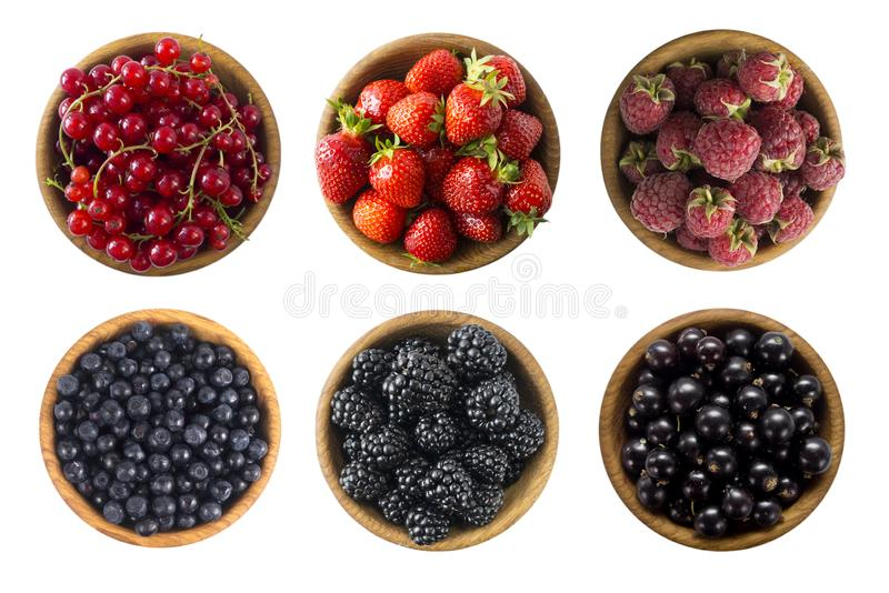 Red and black food. Berries and fruits isolated on white background. Collage of different fruits and berries at black and red colo. R. Raspberries, strawberries stock image