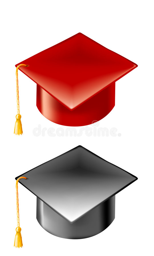Download Red And Black Graduation Hats With Gold Tassels Stock Vector - Illustration of gradient, educate: 3701105