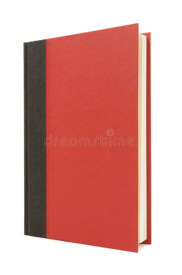 Red and black hardback book standing upright, vertical, front view, isolated on white background, copy space. Red and black hardback book standing upright royalty free stock photo