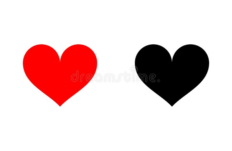 Red and black heart icon. Flat style for graphic, love symbol. Vector illustration isolated on white royalty free illustration