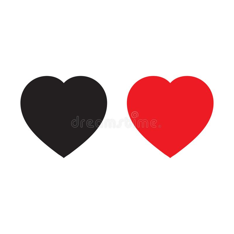 Red and black heart icons, love icon. Vector illustration on white background stock illustration