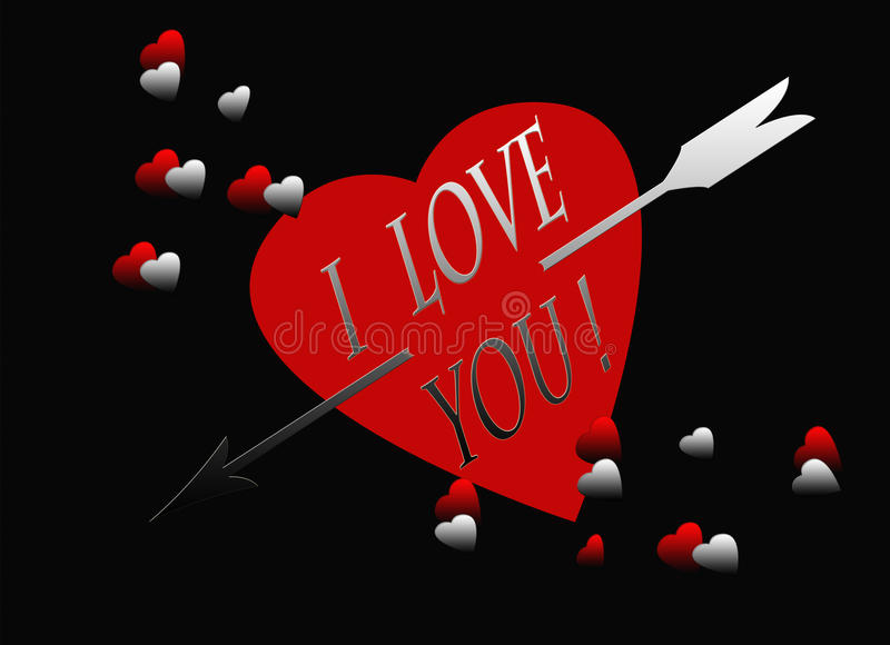 Red black heart silver arrow i love you card stock for I love to design