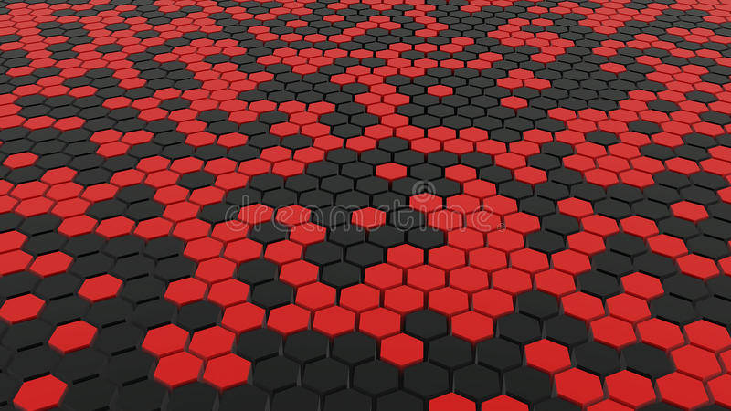 Red And Black Hex Grid Floor Stock Illustration