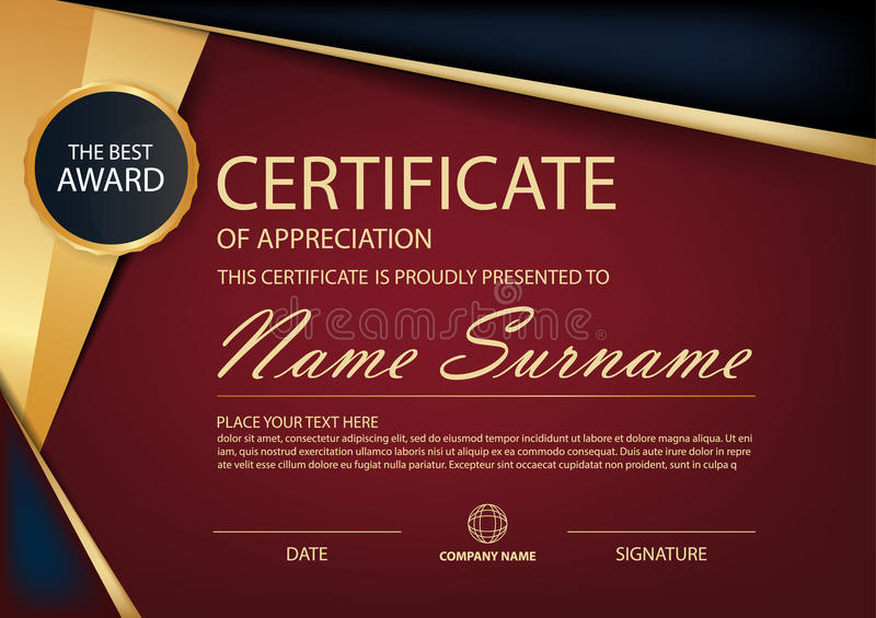 Red And Black Label Elegance Horizontal Certificate With ...