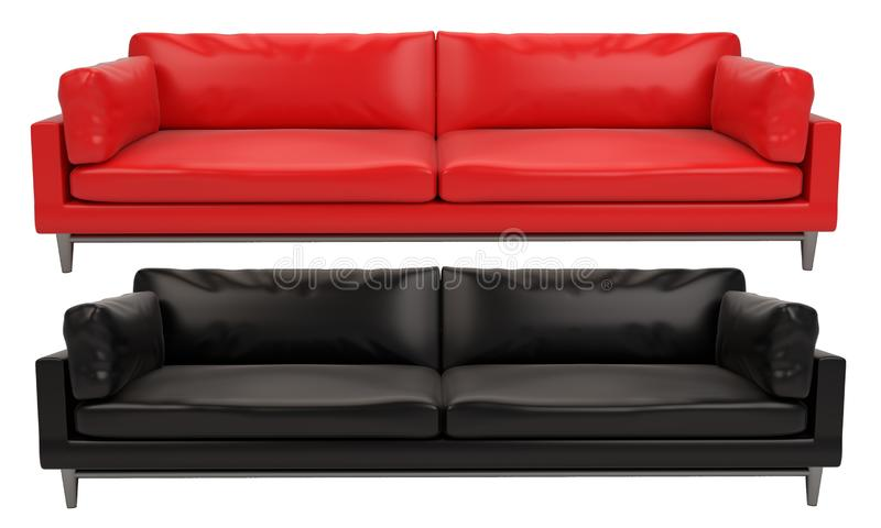 Red and Black leather sofa white and black background stock photo