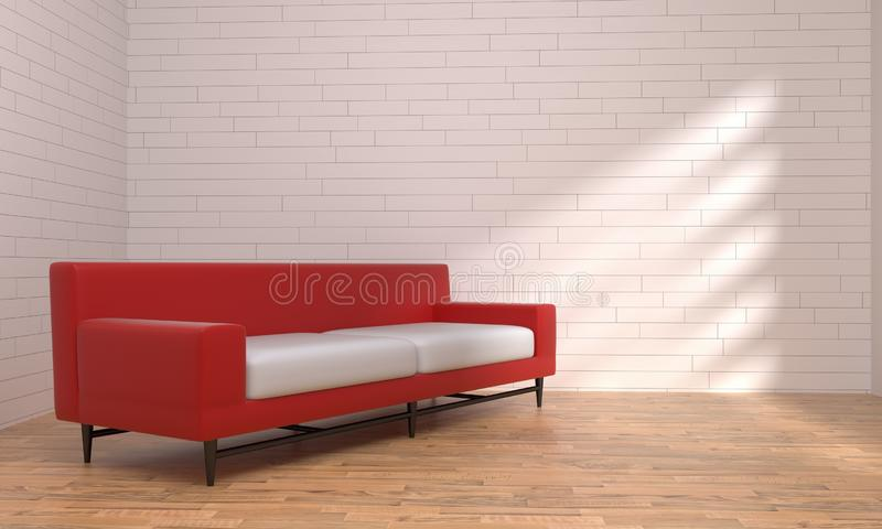 Red and Black leather sofa white and black background stock illustration