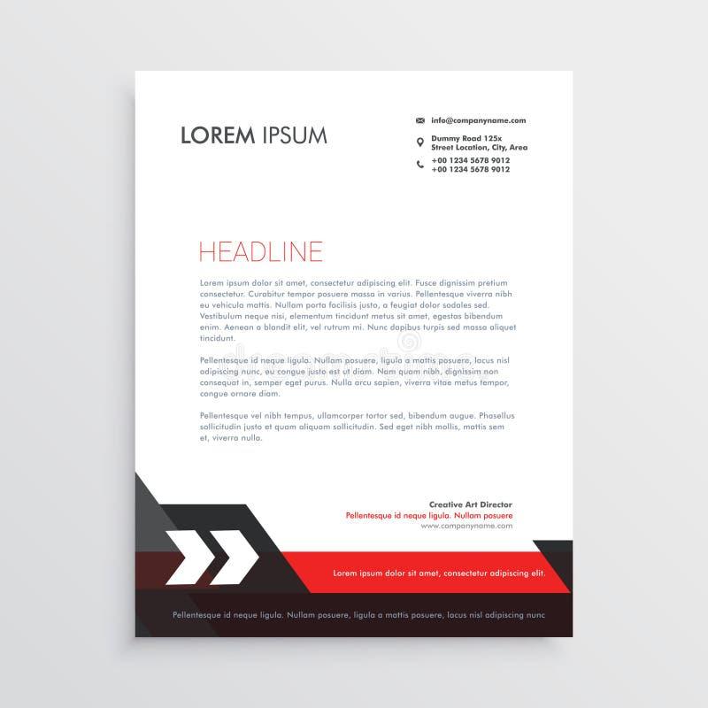 Red Black Letterhead Template Design Stock Vector - Illustration of ...