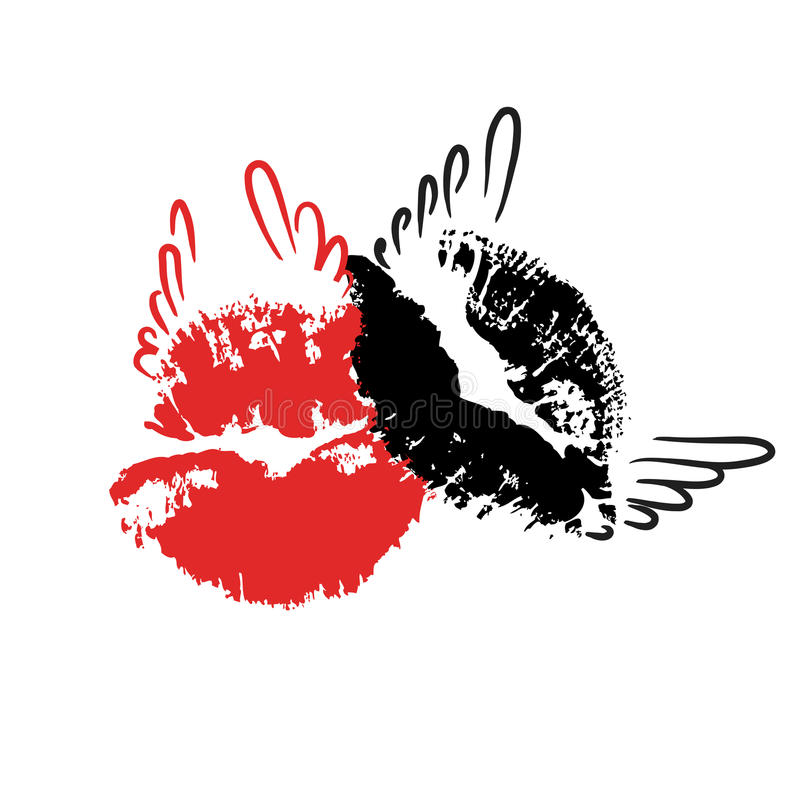 Red and black lips mark with wings. vector illustration