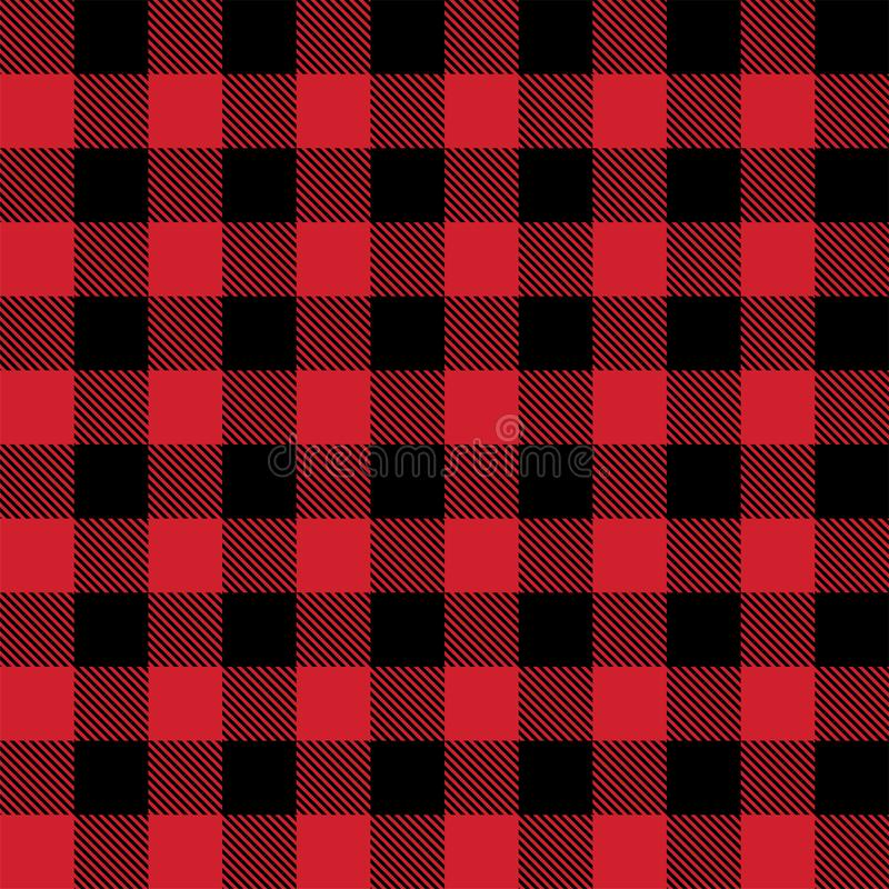 Red and black lumberjack buffalo plaid seamless vector pattern royalty free illustration