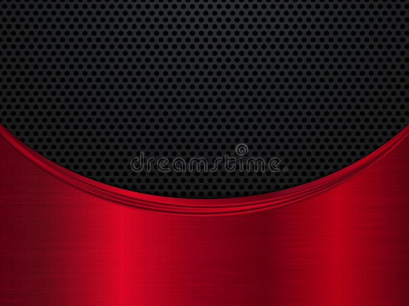 Red and black metallic background. Metal background with wave. Abstract vector illustration royalty free illustration