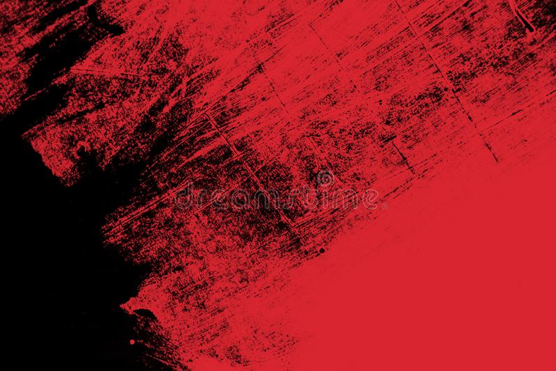 Red and black paint brush strokes background. Red and black paint background texture with grunge brush strokes stock image
