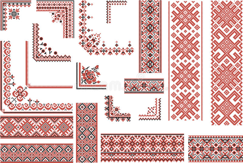 Red and black patterns for embroidery stitch stock vector