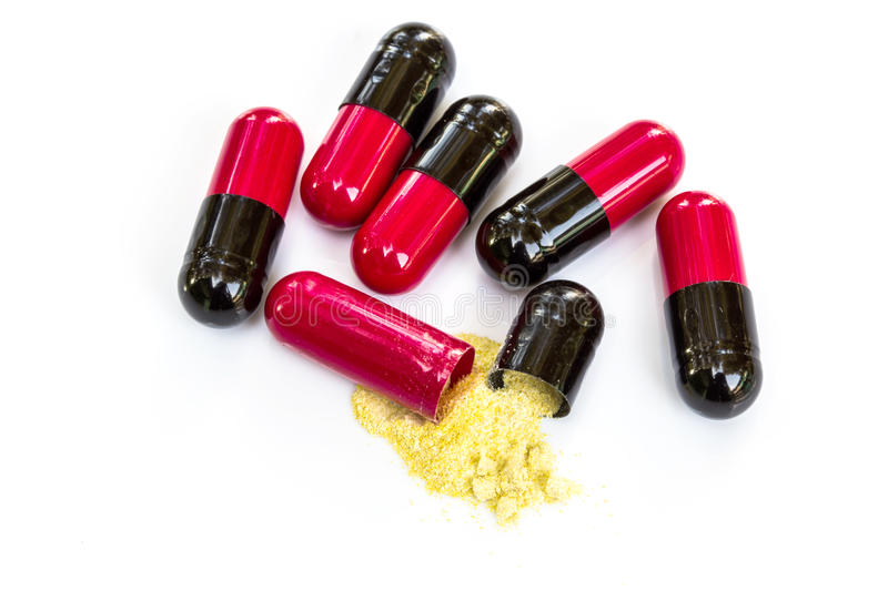 Red and black pills, antibiotics. Medical background royalty free stock photos