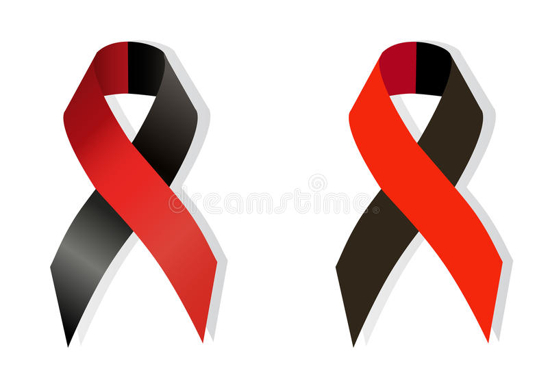 Red and black ribbon awareness. As symbol of atheist solidarity, Survivors of Homicide Victims awareness and solidarity with the right sectors and Ukrainian stock illustration