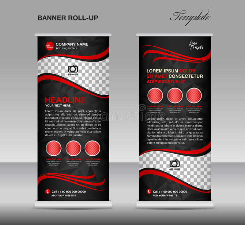 Red and black Roll up banner template vector, stand, flyer design, banner design, polygon background stock illustration