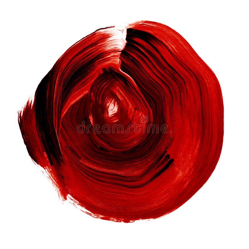 Red black rose textured acrylic circle. Watercolour stain on white background. stock illustration