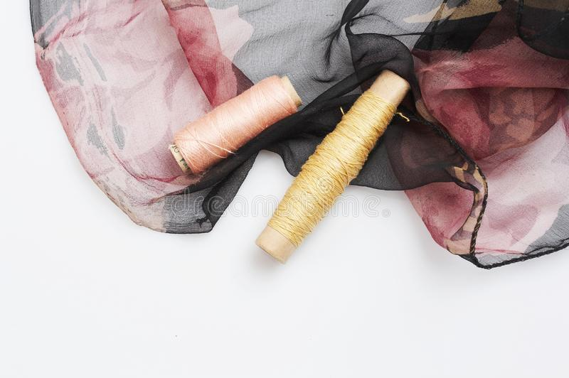 Download Red And Black Silk And Matching Threads Stock Photo - Image: 3710860