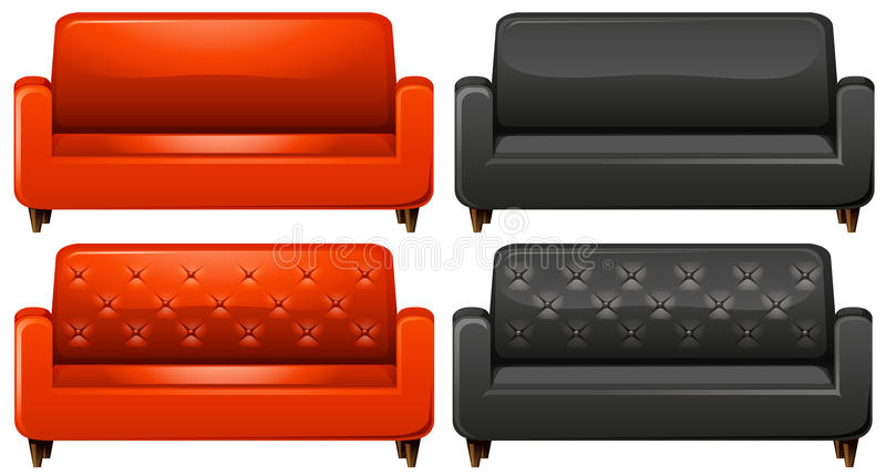 Red and black sofa. Illustration vector illustration