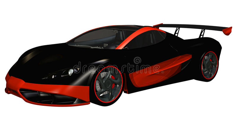 Red and black sports toy car. 3D render of a red and black sports toy car stock illustration