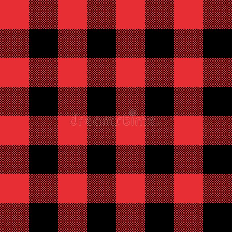 Red and Black Tartan plaid seamless abstract checkered pattern background. For Christmas , Wedding, Birthday design cards/ Flat style vector illustration stock illustration
