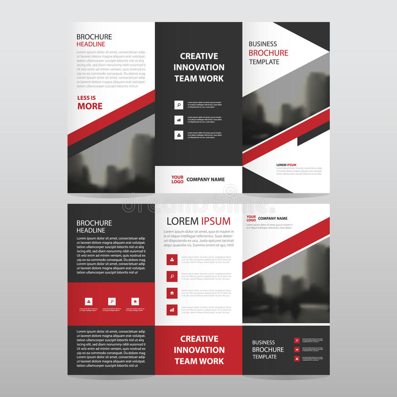 Red black triangle business trifold Leaflet Brochure Flyer. Report template vector minimal flat design set, abstract three fold presentation layout templates a4 stock illustration