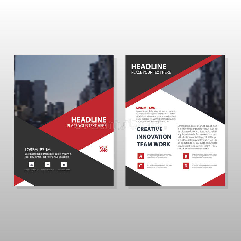 Red black triangle Leaflet Brochure Flyer annual report template design, book cover layout design, abstract business presentation stock illustration