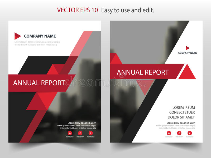 Red black triangle Vector annual report Leaflet Brochure Flyer template design, book cover layout design, abstract business royalty free illustration