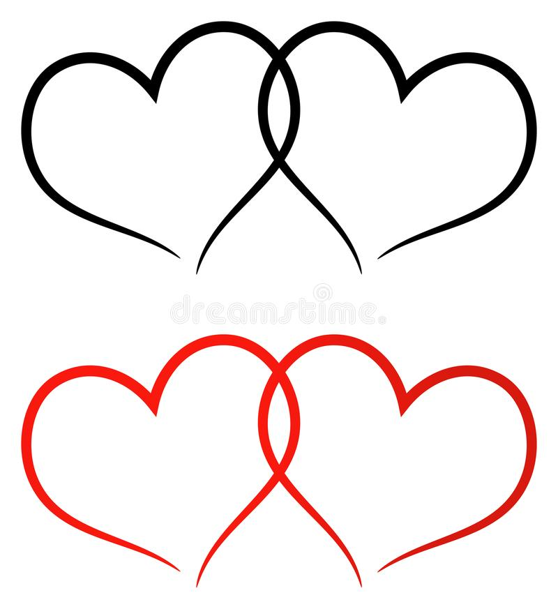 Red and black two hearts clip art vector illustration