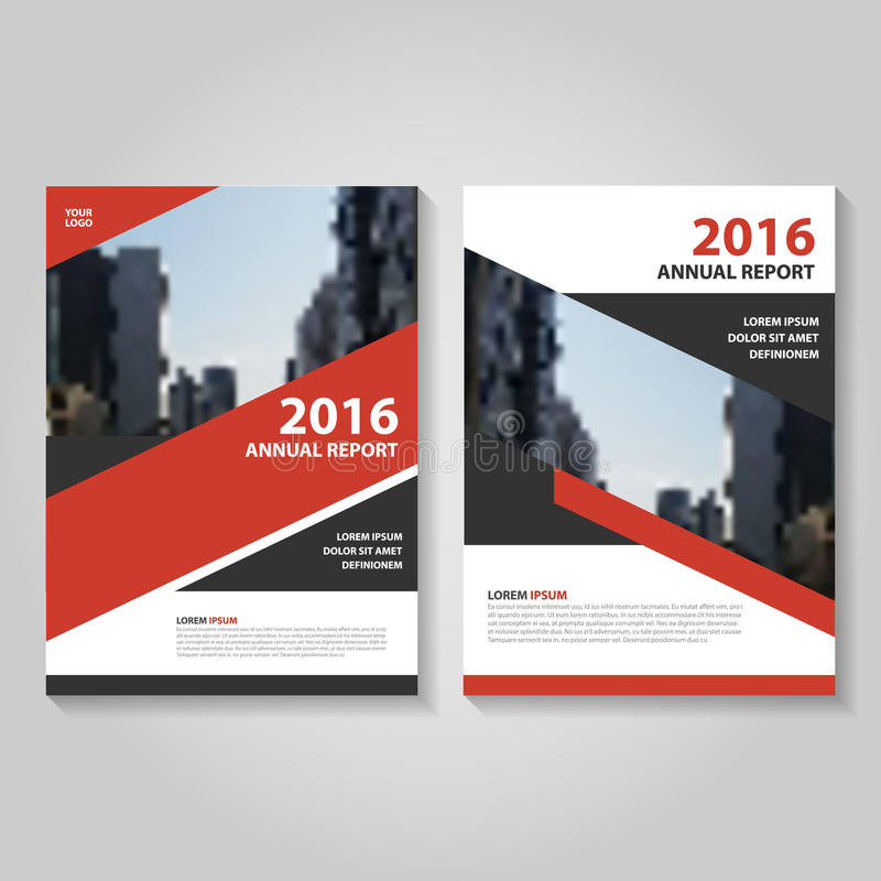 Red Black Vector Annual Report Leaflet Brochure Flyer Template