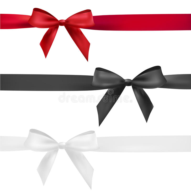 Red, black and white bow vector illustration