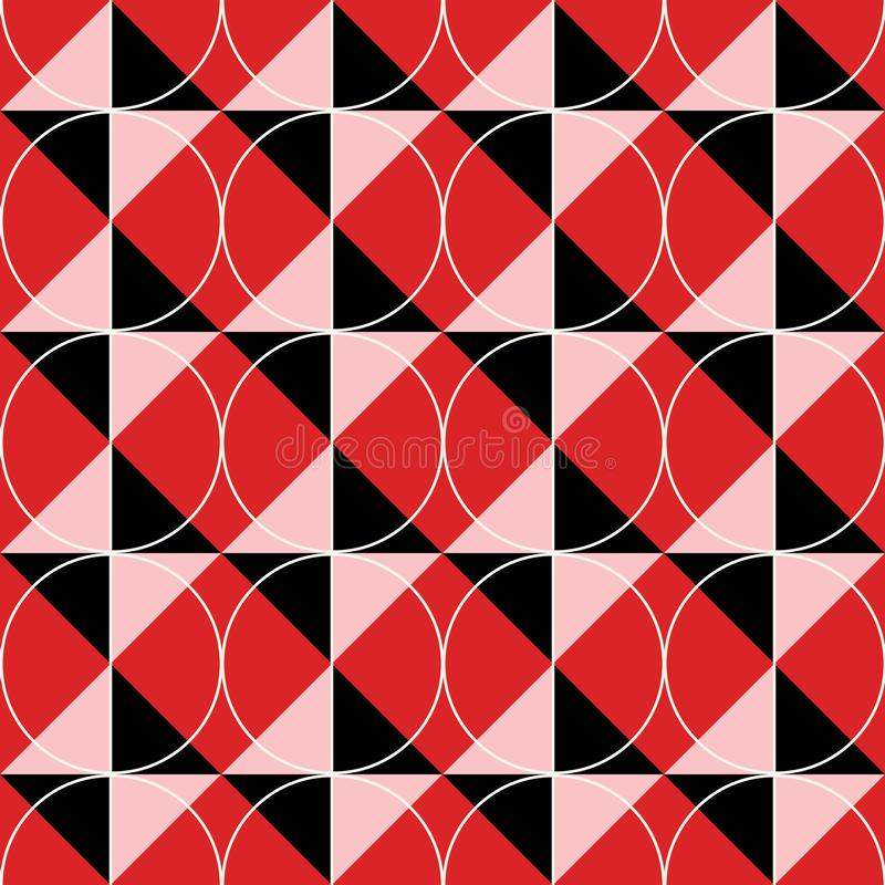 Red-black-white geometric seamless background with diamonds and circles stock illustration
