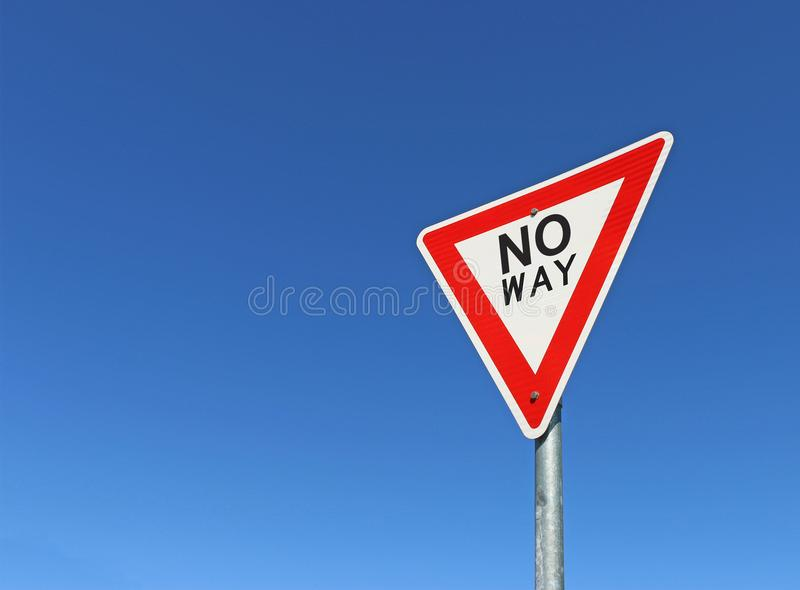 Red, black and white No Way road sign in a bright blue sky. A red, black and white No Way road sign in a bright blue sky stock photos