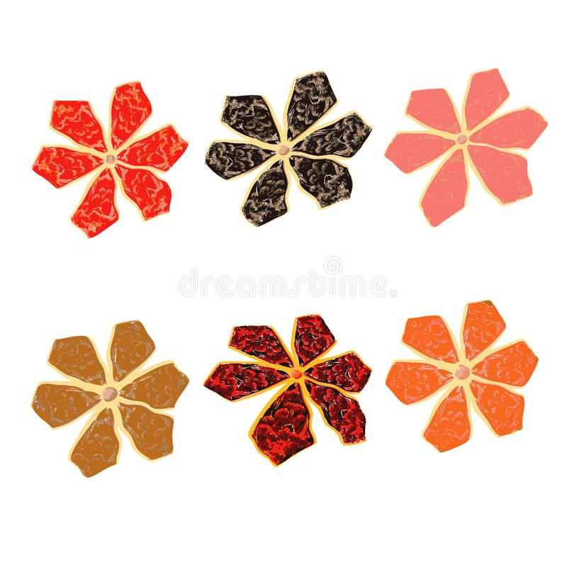 Set f flowers. Bright pattern. royalty free stock photo