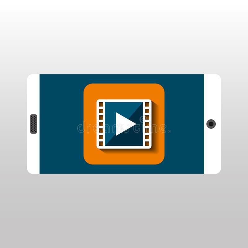 Red blanca de la película del smartphone digital stock de ilustración