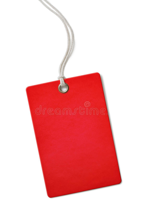 Red blank cardboard price or sale tag isolated. Red blank paper price or sale tag isolated on white royalty free stock photo